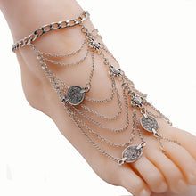 Load image into Gallery viewer, Wholesale Bohemian Punk Retro Wind Metal Multi-layer Chain Tassel Coin Anklet
