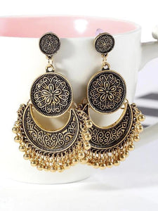 Wholesale 3 Colors Bohemian Indian Antique Moon Shape Carved Flower Tassels Earrings