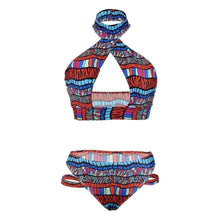 Load image into Gallery viewer, Wholesale 2 Colors SEXY VINTAGE TWO PIECE Bikini Print Swimsuit