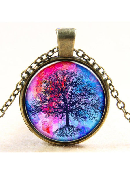 Wholesale Color Life Tree Time Gemstone Pendant Necklace