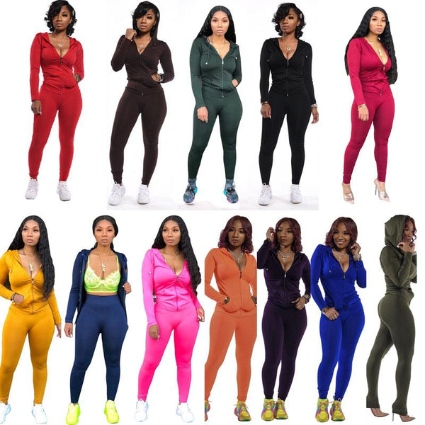 Wholesale Autumn Casual Women's Solid-color Long Pants Long-sleeved Women's Suit 2PCS
