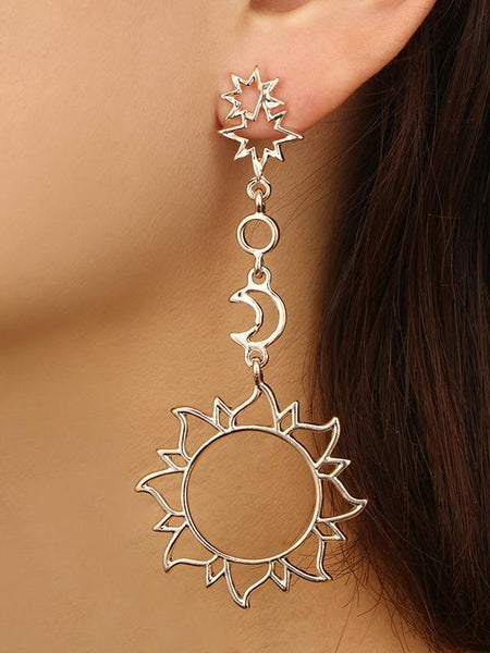 Wholesale Fashion Retro Hollow Star Moon Sun Alloy Earrings