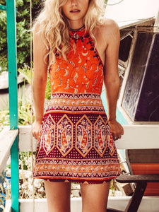 Boho Floral Backless Printed Beach Mini Dress