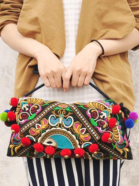 Wholesale Ethnic Embroidery Shoulder Cross Pom Ball Small Bag
