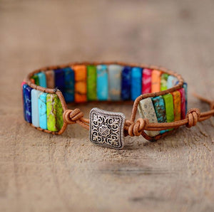 Handmade Multi Color Natural Stone Tube Beads Leather Wrap Bracelet Couples Bracelets