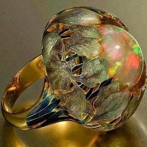 Wholesale Flower Stone Opal Anel Exaggerated Personality Fabulous Anillos Ring