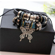 Load image into Gallery viewer, Wholesale 1PCS Fashion Women Men Vintage Multilayer Butterfly Wood Bead Leather Braided Strand Bracelet