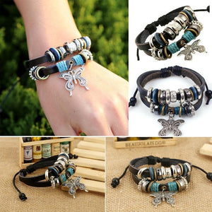 Wholesale 1PCS Fashion Women Men Vintage Multilayer Butterfly Wood Bead Leather Braided Strand Bracelet