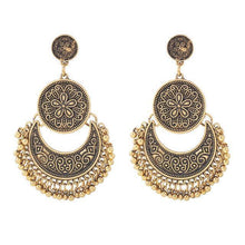 Load image into Gallery viewer, Wholesale 3 Colors Bohemian Indian Antique Moon Shape Carved Flower Tassels Earrings