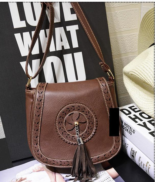 Wholesale Bohemian Tassel PU Portable Diagonal Shoulder Small Bag