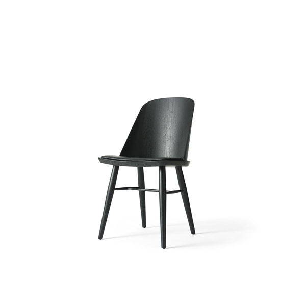 "Synnes Dining Chair Black Ash with Black ""Silk"" Leather by Falke Svatun for Menu"