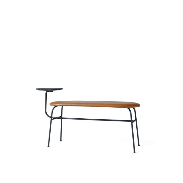 Afteroom Bench Black with Cognac Silk Leather by Afteroom for Menu - Vertigo Home