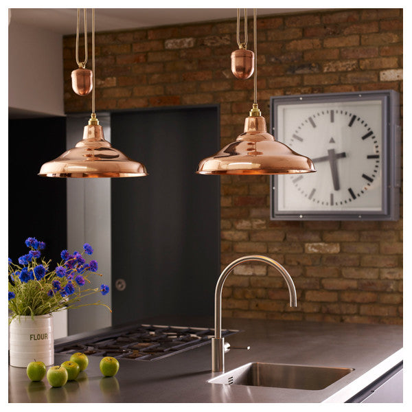 School Light Rise and Fall Polished Copper Pendant by Original BTC / Davey Lighting at www.vertigohome.us
