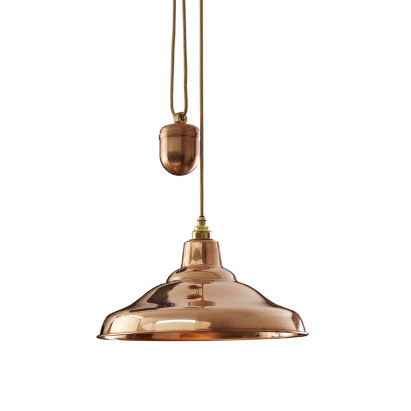 School Light Rise and Fall Polished Copper Pendant by Original BTC / Davey Lighting - Vertigo Home