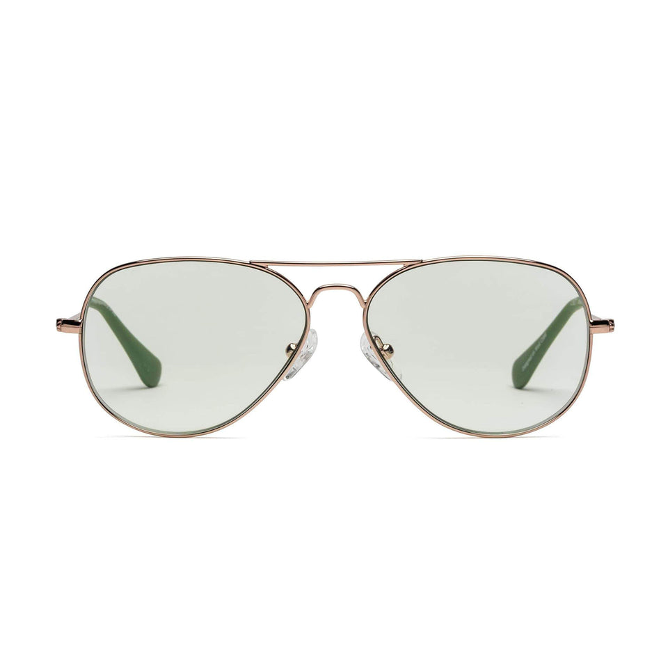 Mabuhay Green Lenses & Polished Rose Gold Reading Glasses by Caddis