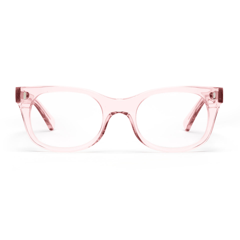 Bixby Polished Clear Pink Reading Glasses by Caddis