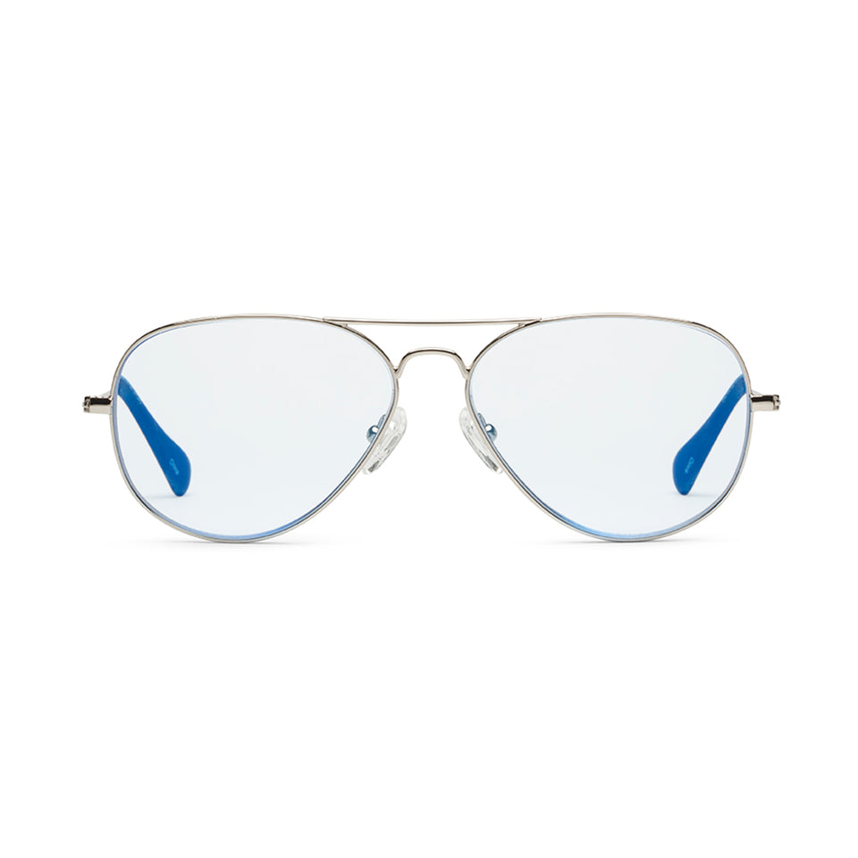 Mabuhay Blue Lenses & Polished Chrome Reading Glasses by Caddis