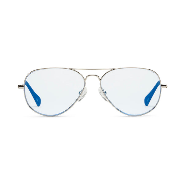 Mabuhay Chrome Light Blue Reading Glasses by Caddis