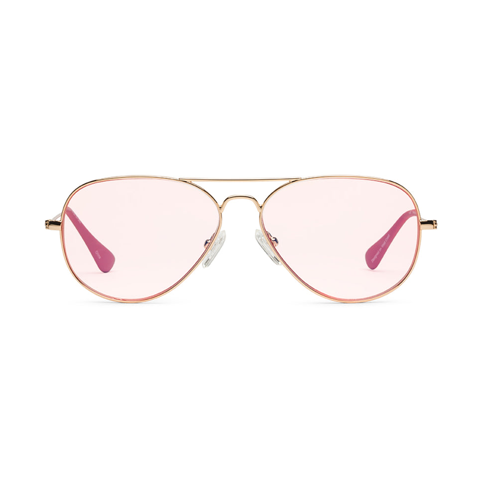 Mabuhay Rose Pink Lenses & Polished Gold Reading Glasses by Caddis