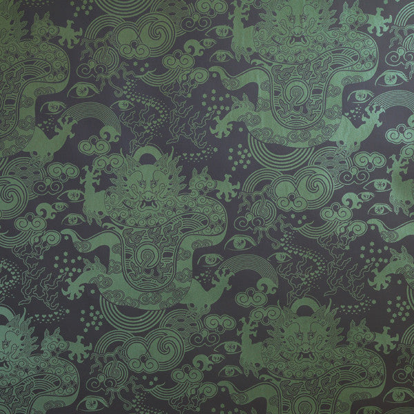 Celestial Dragon - Super Green on Ebony Clay Coated Paper Wallpaper by Flavor Paper - Vertigo Home