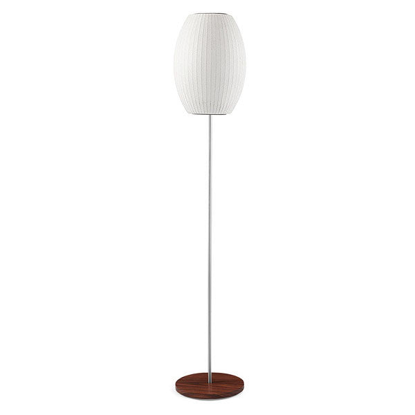 Cigar Lotus Floor Bubble Lamp with Walnut Base - George Nelson - Modernica - Vertigo Home