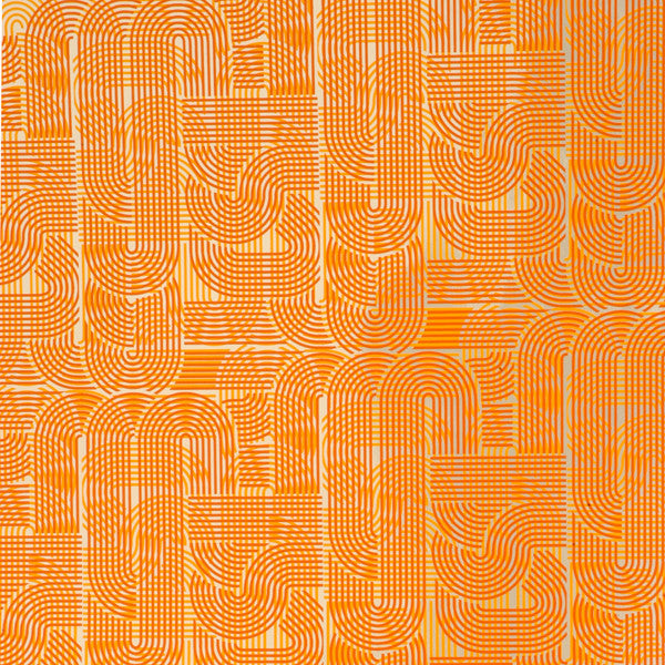 Circuit - Tangerine on Silver Mylar Wallpaper by Flavor Paper - Vertigo Home