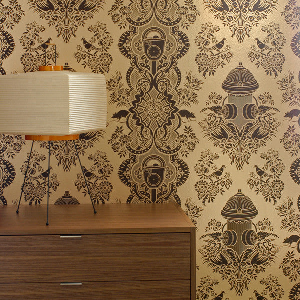 City Park - Dark Chocolate on Champagne Mylar Wallpaper by Flavor Paper at www.vertigohome.us