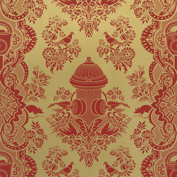 City Park - Samba on Matte Gold Mylar Wallpaper by Flavor Paper - Vertigo Home