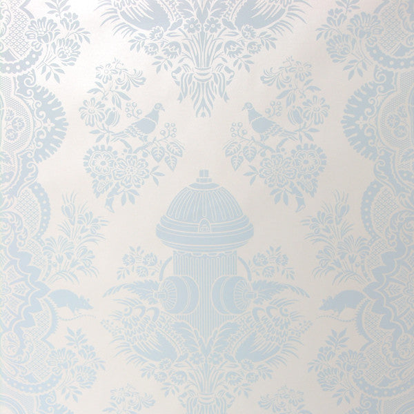 City Park - Light Blue on Mica Clay Coated Paper Wallpaper by Flavor Paper - Vertigo Home