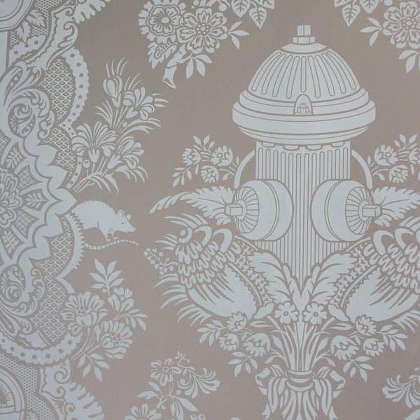 City Park - Light Sage on Platinum Clay Coated Paper Wallpaper by Flavor Paper at www.vertigohome.us