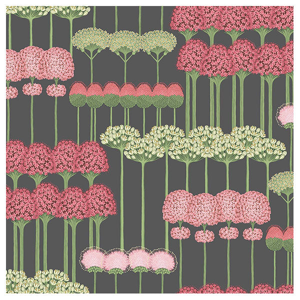 Cole & Son - Botanical Botanica -  Allium in Coral & Leaf Green on Charcoal