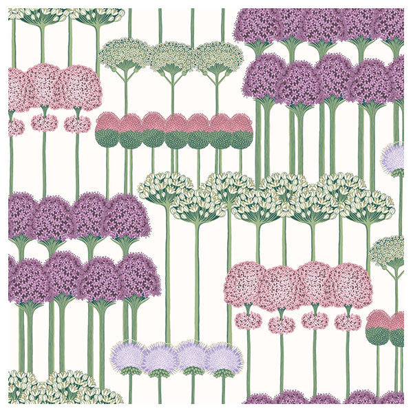 Cole & Son - Botanical Botanica -  Allium in Mulberry, Blush & Lilac on White