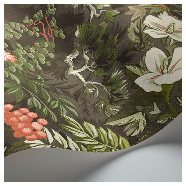 Cole & Son - Botanical Botanica - Woodland in Coral, Olive & Charcoal