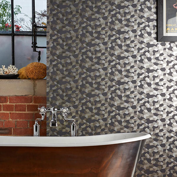 Cole & Son Wallpaper - Curio - Ingot in Charcoal & Silver