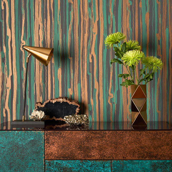 Cole & Son Wallpaper - Curio - Strand in Teal & Gold