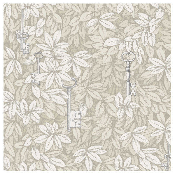 Cole & Son - Fornasetti II Chiavi Segrete Wallpaper - Stone / White - Vertigo Home