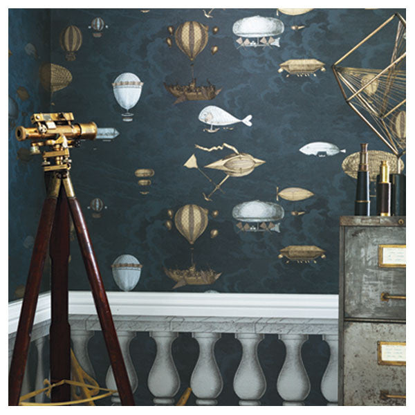 Cole & Son - Fornasetti II Macchine Volanti Wallpaper - Midnight - Vertigo Home