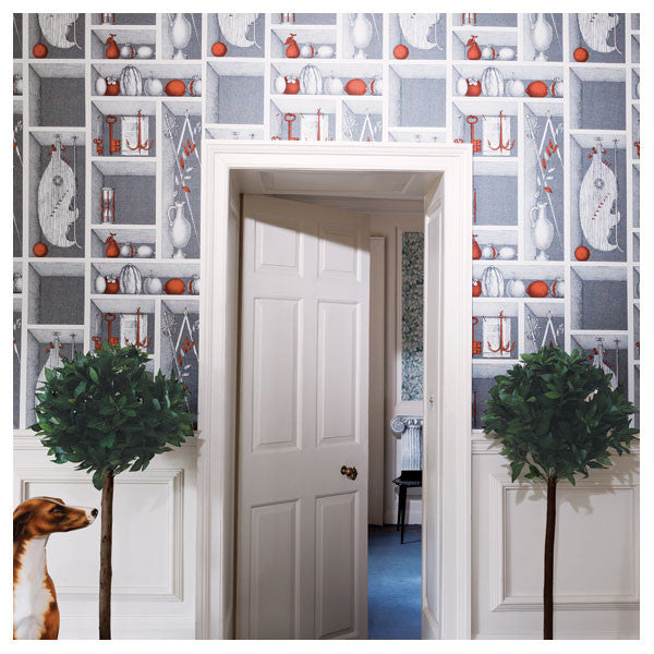 Cole & Son - Fornasetti II Nicchie Wallpaper - Charcoal / Gold - Vertigo Home