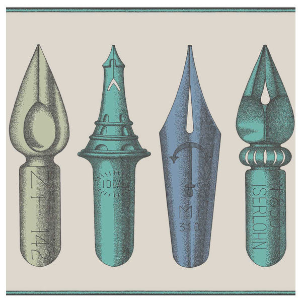 Cole & Son - Fornasetti II Pennini Wallpaper / Frieze - Linen / Aqua - Vertigo Home
