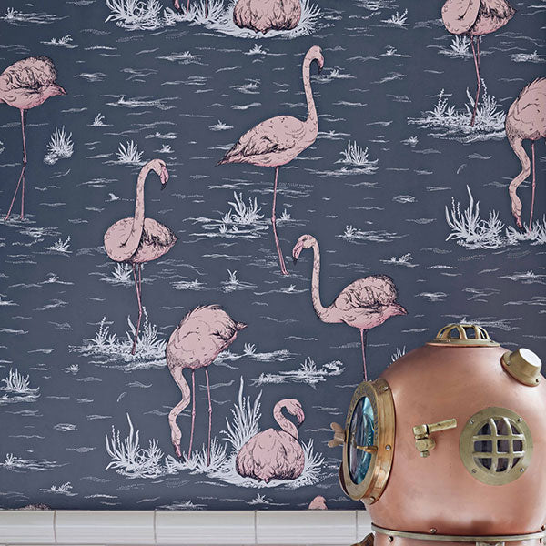 Cole & Son - Icons - Flamingos in Ink & Plaster Pink