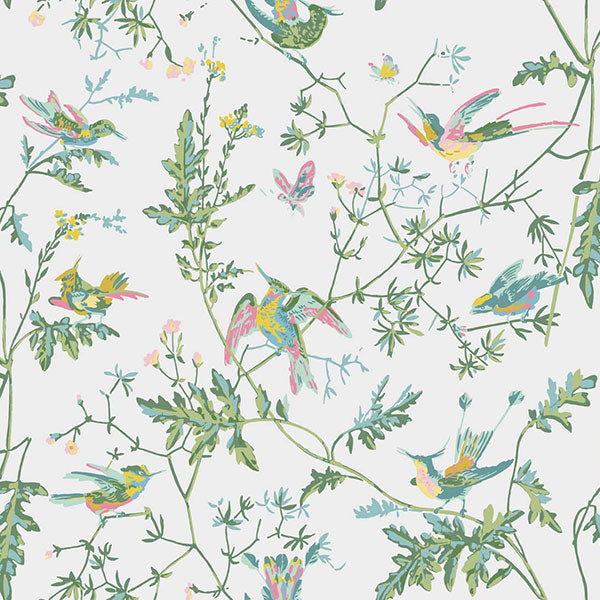 Cole & Son Wallpaper - Icons - Hummingbirds in Green & Pink