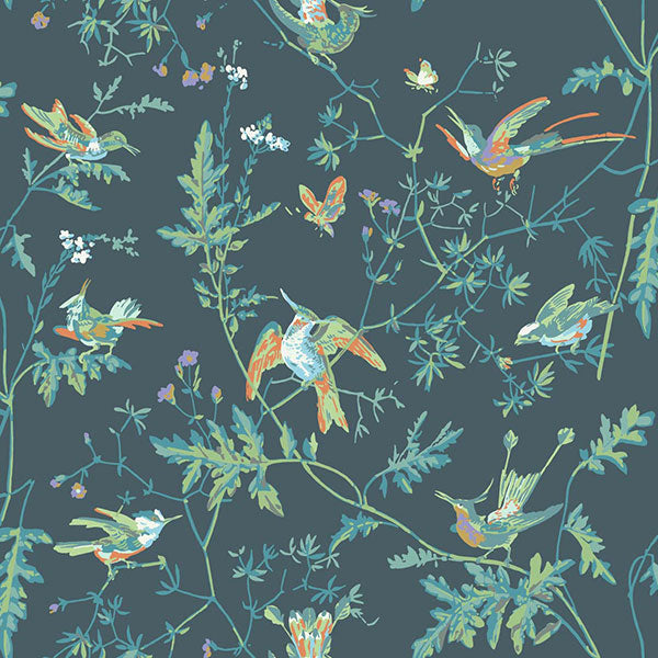 Cole & Son Wallpaper - Icons - Hummingbirds in Viridian