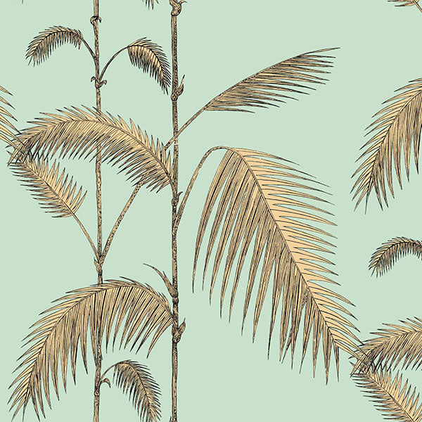 Cole & Son Wallpaper - Icons - Palm Leaves in Mint & Yellow