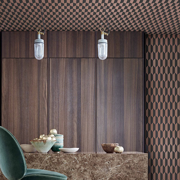 Cole & Son Wallpaper - Icons - Petite Tile in Charcoal & Bronze