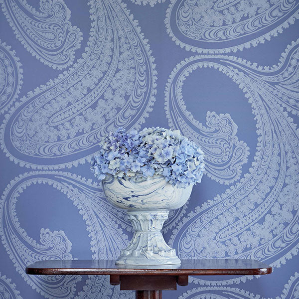 Cole & Son Wallpaper - Icons - Rajapur Flock in Blue & White