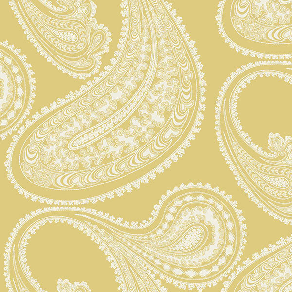 Cole & Son Wallpaper - Icons - Rajapur Flock in Yellow & White