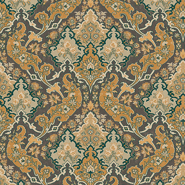 Cole & Son - Mariinsky Damask - Pushkin in Ginger & Charcoal