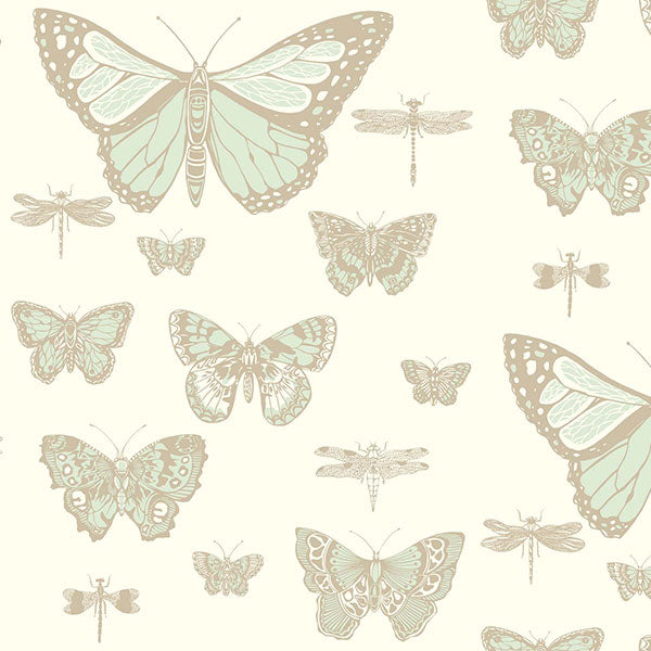 Cole & Son - Whimsical - Butterflies & Dragonflies in Duck Egg on Ivory