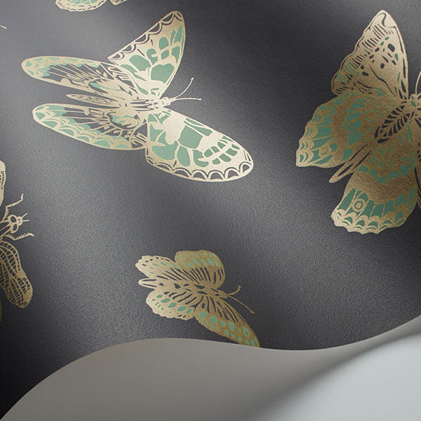 Cole & Son - Whimsical - Butterflies & Dragonflies in Green on Char