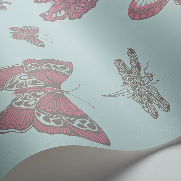 Cole & Son - Whimsical - Butterflies & Dragonflies in Pink on Blue
